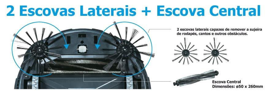 Robô aspirador de pó à bateria 18V Sem Bateria DRC200Z com 2 escovas laterais + escova central
