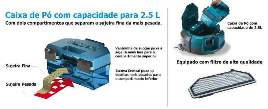 Robô aspirador de pó à bateria 18V Sem Bateria DRC200Z Caixa de pó com capacidade para 2.5L